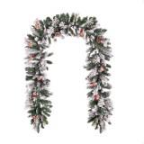 Ghirlanda brad artificial Premium cu zapada de Craciun, 300 cm, aspect real, motiv inzapezit cu conuri