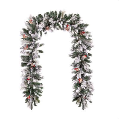 Ghirlanda brad artificial Premium cu zapada de Craciun, 300 cm, aspect real, motiv inzapezit cu conuri foto