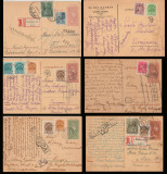 6 CP maghiare expediate 1941-1944 la Timisoara, Lugoj, Sibiu, cenzura romaneasca
