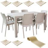 Set exterior gradina,terasa MAITAS masa CLASSI RATAN 90x150x75cm 6 scaune SUNSET RATTAN polipropilen/fibra sticla culoare capucino,6 perne scaun,Trave