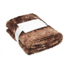 Patura blana artificiala 120x150 cm, lana, Everestus, PA02, maro, saculet sport inclus