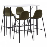 Set mobilier de bar, 5 piese, maro, material textil, vidaXL