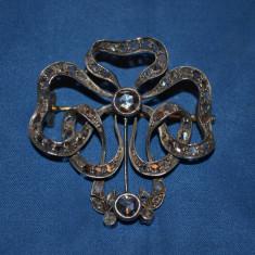 BROSA PANDANTIV ARGINT + AUR 14k + 66 Diamante (2.5ct) - Art Nouveau - Vintage !