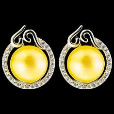 Cercei din Argint 925 cu Perle Naturale si Diamante, Barbara