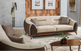 Canapea tapitata cu stofa, 3 locuri, cu functie sleep pentru 1 persoana Berlin Crem / Maro K1, l242xA106xH85 cm