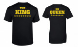 Tricou de cuplu negru The King/His Queen Gold COD P012