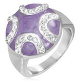 Inel din oțel - cerc mov în formă de dom, semicercuri cu zirconii - Marime inel: 52