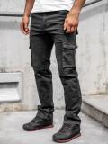 Pantaloni negri cargo cu curea Bolf 8813