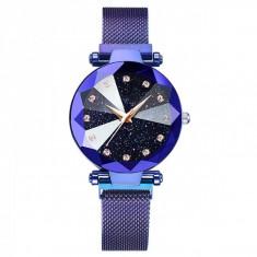 Ceas dama GENEVA CS1034, model Starry Sky, bratara magnetica, elegant, albastru