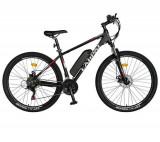 Bicicleta electrica CARPAT C1011E, cadru aluminiu, roti 27.5inch, frane mecanice disc, transmisie SHIMANO 21 viteze, motor 250W (Negru/Alb)
