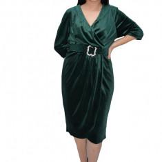 Rochie Vika din catifea,petrecuta,decolteu in V,verde