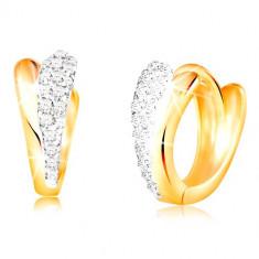 Cercei rotunzi din aur 585 - lacrimi strălucitoare din aur galben și alb, zirconii
