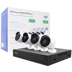 Resigilat : Kit supraveghere video PNI House IPMAX POE Five, NVR cu 4 porturi POE,