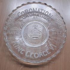 Farfurie din sticla incoronarea REGELUI GEORGE al-VI-lea 1937