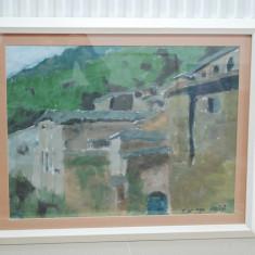 Tablou pictura in ulei, Cladiri in Assisi - Italia, semnat