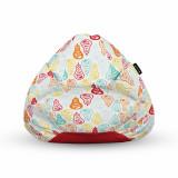 Cumpara ieftin Fotoliu Units Puf (Bean Bag) tip para, impermeabil, cu maner, 80 x 90 x 68 cm, alb cu pere multicolore