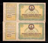 DOUA BONURI VALORICE COOPERATIVA DE CONSUM, 100 LEI, SERII CONSECUTIVE