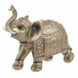 Elefant decor din rasina Golden 23 x 10 cm
