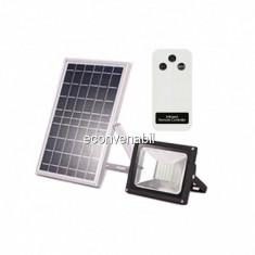 Proiector LED 20W cu Panou Solar si Telecomanda Alb Rece