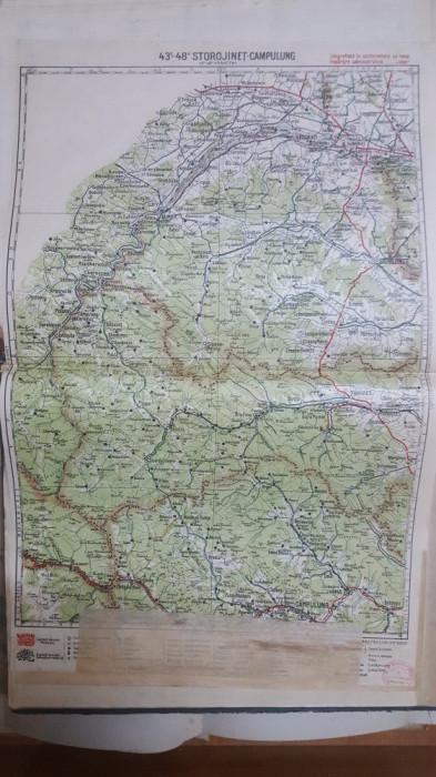 Harta Storojineț, Câmpulung, Moldova-Sulița, Vama, Cozmeni, Vijnița, 1928
