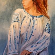 Pictura in acuarela - portret tarancuta, Portrete, Realism