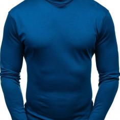 Pulover pe gât fără imprimeu pentru bărbat albastru Bolf 145347