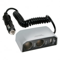 Priza auto tripla Carpoint 12V 8A cu 2 iesiri DC si una USB cu cablu de 30cm