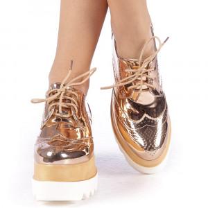 Pantofi dama cu platforma Devera sampanie