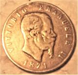 REGNO D'ITALIA - VITTORIO EMANUELE II, - 5 LIRE 1871 MILANO. silver, Europa