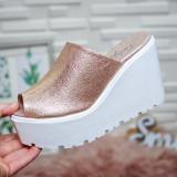 Papuci Macaria champagne cu platforma -rl