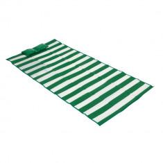 Saltea de plaja pliabila 180x86 cm, cu perna gonflabila, Everestus, ESP005, polipropilena, verde si alb, saculet inclus