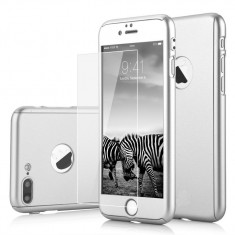 Husa Apple iPhone 5/5S/SE Flippy Full Cover 360 Argintiu + Folie de protectie