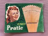 Eticheta veche belgiana marca PRATIC pentru 12 agrafe de prins parul