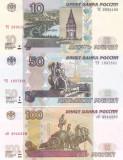 Bancnota Rusia 10, 50 si 100 Ruble 2004 - P268-270 UNC ( set x3 )