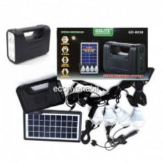 Kit cu Panou Solar, USB si Becuri LED, 6V4Ah GD8038