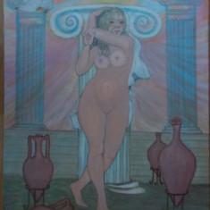 Reproducere in culori acrilice Nud antic II, pe carton panzat