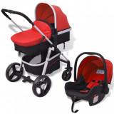 VidaXL Cărucior pentru copii 3-în-1, roșu și negru, aluminiu