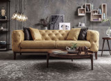 Canapea fixa tapitata cu stofa, 3 locuri Lounge Galben, l228xA98xH75 cm