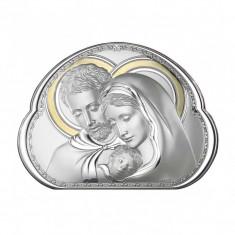 Icoana Argintata Sfanta Familie 23x16.5cm cu Auriu Cod Produs 2755