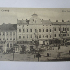 Carte postala necirc.Cernăuți/Czernowitz-Bucovina,Piata Unirei/magazine anii 20, Cernauti, Necirculata, Printata
