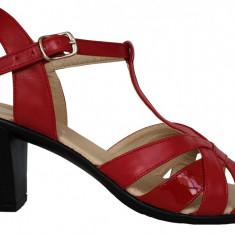 Sandale dama cu barete si cu toc comod Ninna Art 113 rosu