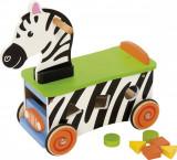 Premergator BigJigs Zebra, 6 blocuri lemn, 18 luni+