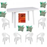 Set mobilier gradina masa demontabila MUTUM cu 6 scaune Jokei culoare alba,6 Pernute scaun,Fata de masa150x220cm B001063 Raki