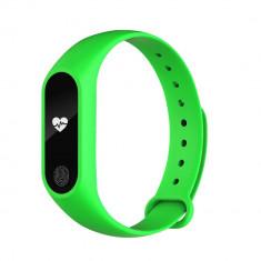 Bratara fitness inteligenta M2 cu masurarea tensiunii arteriale, Ritm cardiac, Pedometru, Bluetooth, IP67, Verde