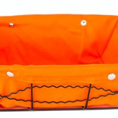 Cos servire dreptunghiular paine din metal cu panza, 23 x 18 x 8 cm culoare orange, 012099