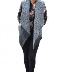 Cardigan tip vesta Olivia din piele,croi asimetric,nuanta de negru-gri