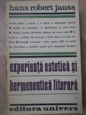 EXPERIENTA ESTETICA SI HERMENEUTICA LITERARA - HANS ROBERT JAUSS foto