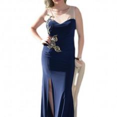 Rochie spectaculoasa lunga, bleumarin, plasa crem si trena discreta