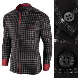 Camasa pentru barbati, in carouri, neagra, premium, slim fit, casual - Red Polo, XXL, Maneca lunga