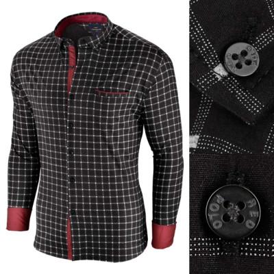 Camasa pentru barbati, in carouri, neagra, premium, slim fit, casual - Red Polo foto